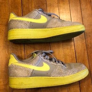 Nike AF1 Air Force One 11.5 Gray and Neon Yellow